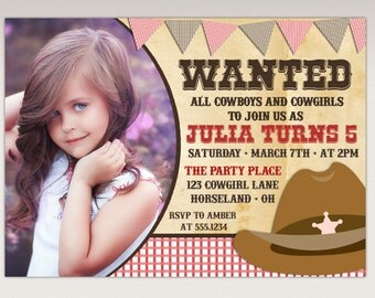 Cowgirl Rodeo Birthday Party Printable Photo Invitation #384