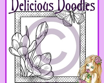 Digital Stamp - Crocus and Butterfly Frame