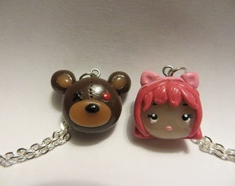 Annie & Tibbers League of Legends - Best Friend Polymer Clay Pendant Charm Necklace