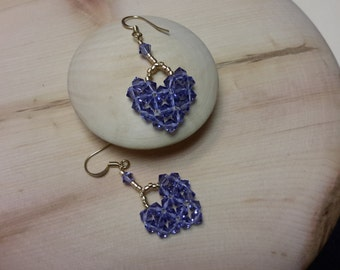 Valentine beaded heart earrings, pierced, 4 mm Swarovski crystals, seed beads, purple or dark lavender
