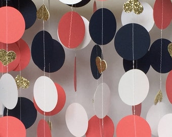 Wedding, Bridal Shower Decorations, Paper Garland, Coral, Navy, Champaign Gold Glitter