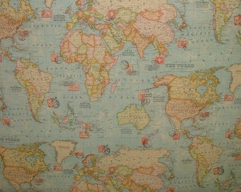 World map fabric Etsy