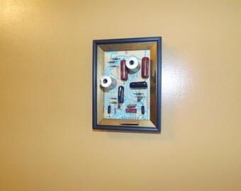 Vintage circuit board, 3d art, framed