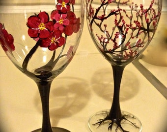 Hand-painted Cherry Blossom Wine Glasses