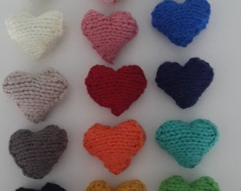 Knitted hearts, perfect for wedding favours, decorations, pin cushions etc.