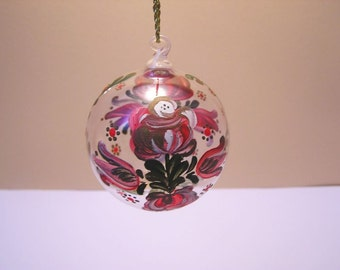 Blown glass ball with hand painting
