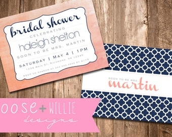 Custom Bridal Shower Invitation - Coral/Navy - Choose Colors/Personalize