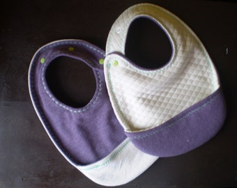 Baby and toddler reversible terry bib with pocket