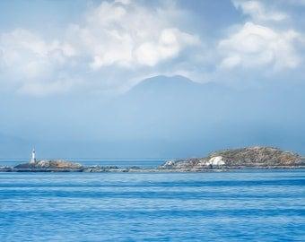 Salish Sea Islet, Ocean, Seascape, Fine Art Photography, Fine Art Paper, Wall Art, Wall Decor, Stylized, Landscape, Clouds, Beacon, Island