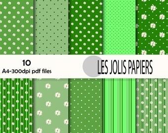 pack of digital green tones papers, flower motifs, polka dots, stripes, download, PDF, 300 DPI + Jpeg