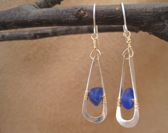 Blue Sea Glass Earrings - Cobalt Blue - Beach Glass - Dangle Earrings- Metalwork - Hammered Sterling - Wire Wrapped - Contemporary