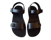 Black AGRIPPA Leather Sandals Flip Flop Flats for Men & Women