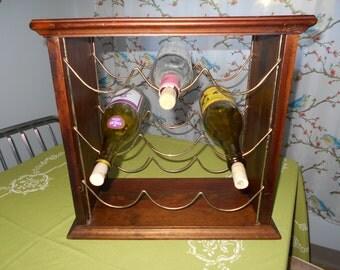 Reduced! Vintage Solid Wood Wine Rack with Metal Rack Holds 9 Bottles