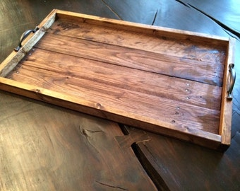 Serving tray, Reclaimed wood serving tray, Wood serving tray
