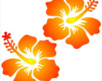 2 Hibiscus Flower Removable Wall or Permanent Art Decals