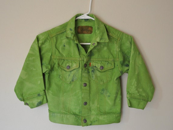 Kids Levi's Denim JACKET Lime Green Hand Dyed Upcycled