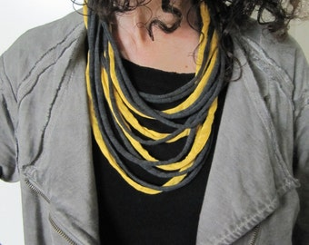 Necklace/scarf, t-shirt yarn necklace, recycled yarn necklace, gray and yellow.