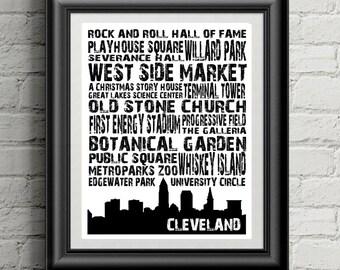Cleveland Landmarks Typography Art Print - Printable Download, Cleveland Skyline Wall Art Decor - Digital INSTANT DOWNLOAD