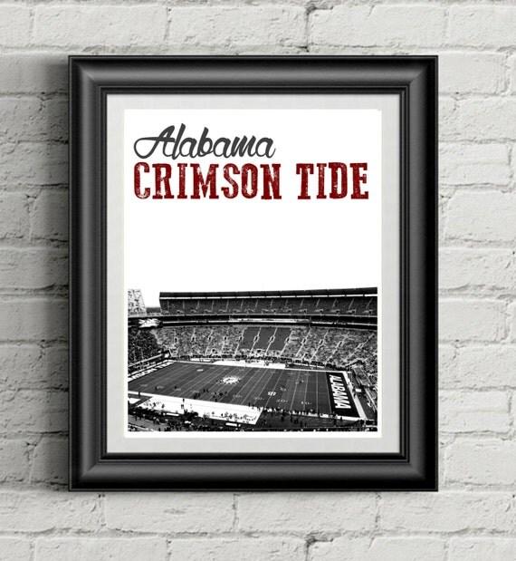 Alabama crimson tide football stadium art by sportsprintables for Alabama football wall mural