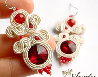 red crystal dangle earrings, Soutache Earrings, Soutache Jewelry, Nude Soutache Jewelry, Red Swarovski Crystal