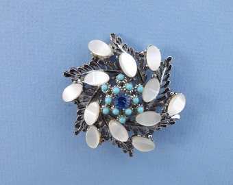 VINTAGE BROOCH: Mother of Pearl or Moonstones, Turquoise and Blue Centre Stone. Safety Clasp. 6cm. Lovely Mothers Day Gift.