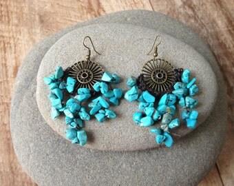 Handmade beaded turquoise stone chandelier earrings/ wedding jewelry