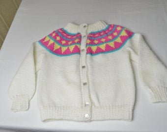 Girls Sized 6-8 knitted button up sweater