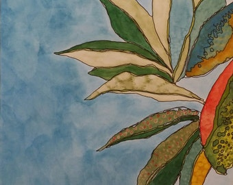 Peony Leaves - watercolor and ink on paper