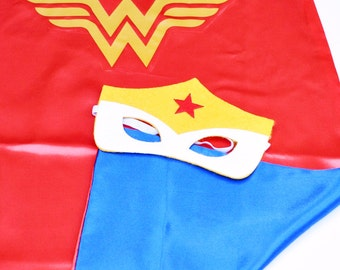Wonder Woman cape and mask, wonder woman costume, hero clothes, wonder woman cosplay, christmas, cosplay, wonderwoman mask, hero costume