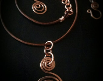 Inspirals Handcrafted Copper & Leather Necklace