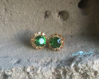 Green and gold  crystal swarovski earrings 14k gold plated,clove