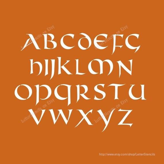 celtic stencil letter stencils a z alphabet set choose uppercase lowercase or both 1