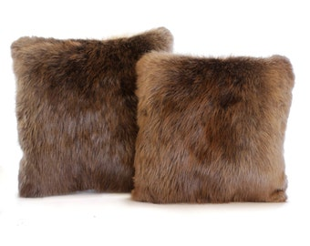 Real Beaver Fur Pillow - Luxurious and cozy Pillow