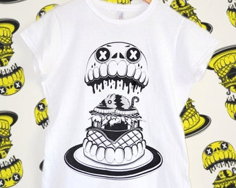 Skull Burger Women's White T-Shirt