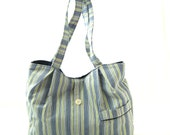 Upcycled MEN'S PAJAMAS Purse Blue/Green Striped Shirt Button-Down Handbag Tote w/Interior & Exterior Pockets Recycled Handmade OOAK Bag