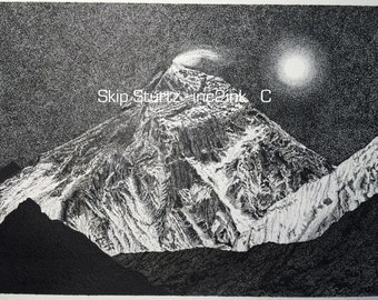 Award Winner, Mount Everest in Pen & Ink - Signed Limited edition print - mounted and matted