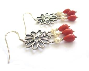 Creamy Coral - Bali Silver Chandelier Earrings