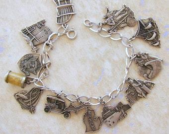 Heritage Michigan Sterling Silver 12 Vintage Charm Bracelet Promotional
