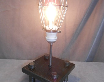 Repurposed, Recyled, Upcyled, Industrial, Machine Age, Steampunk, Accent, Nightstand, Desk, Reading, Lamp, Light