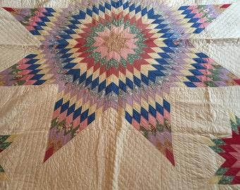 Lone Star, Vintage, Hand Stitched Quilt