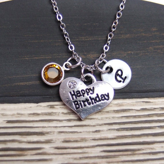 initial necklace happy birthday necklace birthstone by