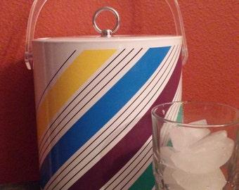 Sale! Retro Striped Vinyl Ice Bucket, Stripes are Kelly Green, Purple, Royal Blue and Yolk Yellow