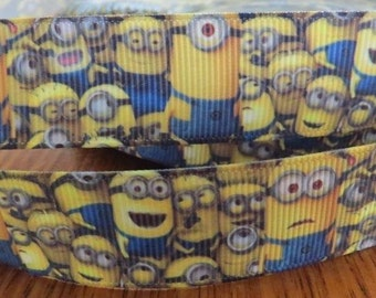 "Lot of 2 Metres of 1"" Grossgrain Ribbon - Minions - For Craft"