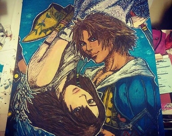 Yuna and Tidus Painting