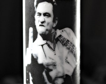 Johnny Cash Middle Finger Photo Pillar Candle in White