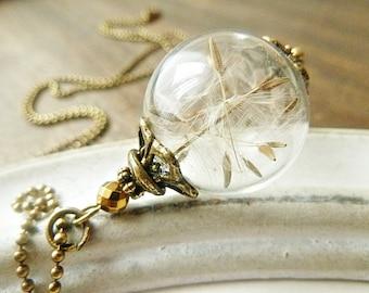 Dandelion Glassbead Necklace Bronze
