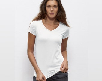 Design and customization of your Organic V neck Tshirt - Women XS to XL