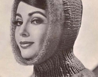 Knit Hood Woman's Helmet with Mohair Trimming or Child's Hood without Mohair Trimming Vintage Knitting Pattern Instant Download