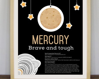 Mercury poster, infographic, planets, science art, educational poster, kids room decor