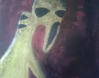 Acrylic Alien Painting Original 8x10 canvas